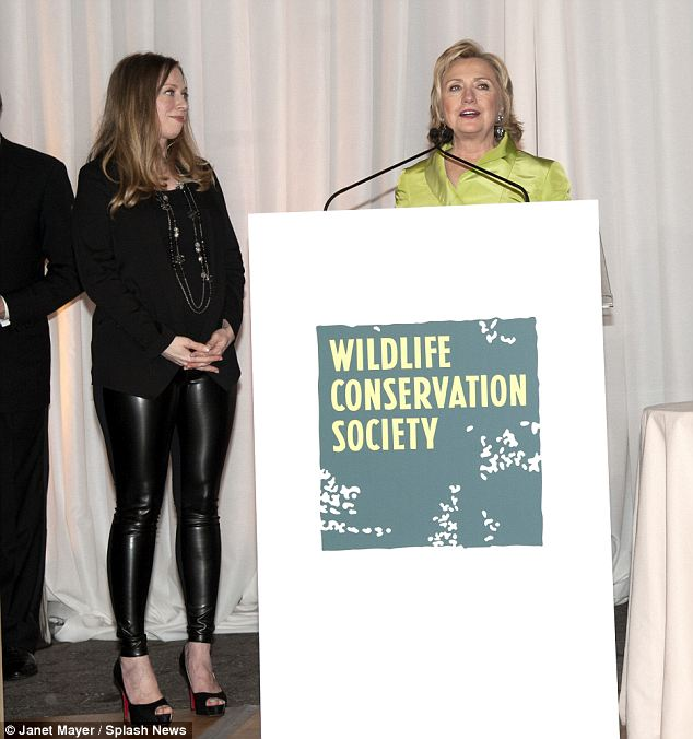 A noble cause doubtless close to her heart: saving wildlife in leather pants. Priceless.