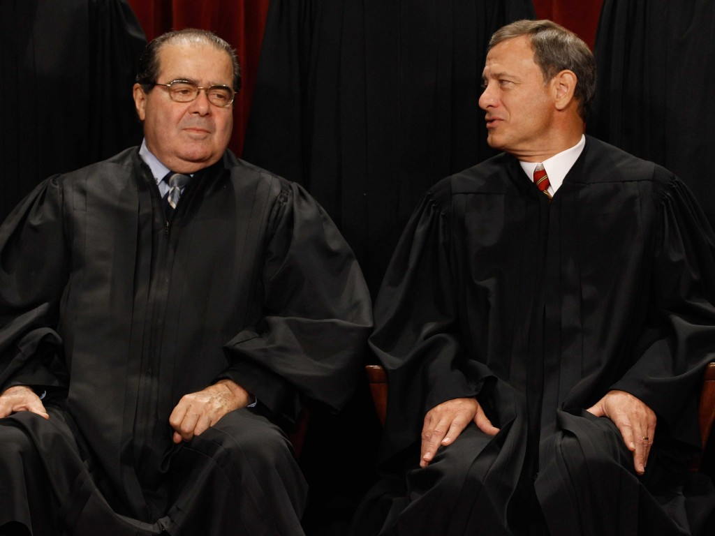 """Now they'll like us better!"" Note Scalia's amiable, clenched left fist."
