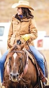 Kristi on horseback